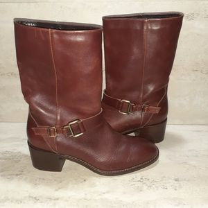 Aquatalia dark brown mid-calf heeled leather boots